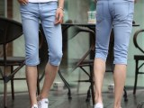 2014夏季新款男装牛仔裤七分裤潮修身韩版弹力牛仔裤天蓝色