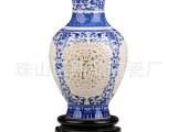 景德镇陶瓷花瓶 青花瓷镂空花瓶 薄胎象牙青花瓷陶瓷工艺品摆件