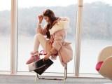 2012秋冬新款韩版兔毛连帽领棉服中长款棉外套羊羔绒棉衣女