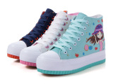 2014新款四季高帮圆头女鞋学生系带帆布鞋内增高 印花女布鞋