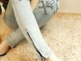 2014新款韩国代购个性脚口拉链 磨破 骷髅头刺绣牛仔裤小脚裤女