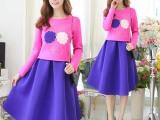 冬季新款女装撞色工字褶太空棉两件套装裙代理加盟一件代发