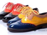 欧美原单英伦风复古布洛克牛津鞋拼色单鞋 平跟真皮女鞋 厂家直销