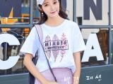 夏新款白色宽松大码圆领韩版t恤印花短袖上衣