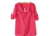 欧美时尚夏款女装 新款套头波点七分袖衬衫 休闲甜美女式宽松衬衣