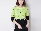 厂家直销 2015秋冬新款女式针织衫 韩版修身波点时尚女装毛衣混