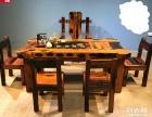 玉树市老船木茶桌椅子仿古茶台实木沙发茶几餐桌办公桌家具博古架