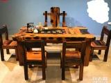 长春市老船木茶桌椅子仿古茶台实木沙发茶几餐桌办公桌家具博古架