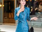 森格莉雅 2014秋装新款皮衣女 韩版修身通勤风衣 pu皮中长款外套