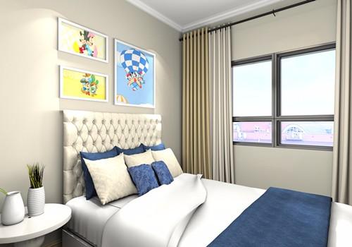 次卧2:简单的卧室,寥寥几幅大小不一的装饰画点缀,小空间不吊顶反而会放大空间感,不至于显得压抑郁闷。.jpg