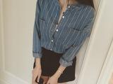 2015秋装新款韩版女装甜美修身显瘦竖白条纹长袖立领牛仔衬衣上衣
