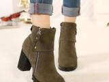 2014秋冬季女鞋短靴女短筒高跟真皮女靴子粗跟马丁靴女欧洲站单靴