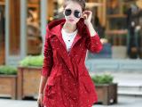 2015秋装新款修身女式风衣外套韩版印花休闲连帽中长款女装实拍