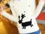2013冬季新款 韩版甜美小鹿图案套头马海毛针织衫圆领长袖毛衣女
