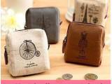 特价供应韩版可爱女巴黎记忆零钱包 创意帆布零钱包 简约复古钱包