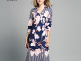 14秋季新款连衣裙长袖混纺印花裙欧洲女装高档品牌专柜大码服装