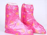 新款女式鞋套防水防滑加厚 PVC材质粉色防雨鞋套 厂家直销批发