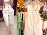 2014欧美大牌夏女装新款 蕾丝修身开衩短袖气质连衣裙
