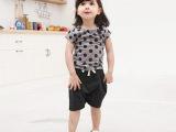 2014夏季新款童装 儿童夏装休闲圆点短袖两件套装 童套装短袖夏