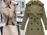 欧美女装2014新款秋女宽松双排扣系腰带V领中长风衣外套大衣48