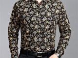 男式碎花衬衫2014 春秋必备爆款 商务绅士休闲时尚翻领长袖衬衫