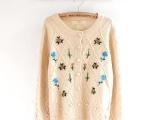 日系针织包扣绣花开衫开襟毛衣