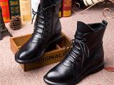厂家直销女鞋新款欧洲站韩版女靴系带侧拉链真皮马丁靴秋冬爆款