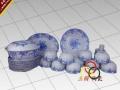 陶瓷花鸟餐具