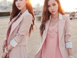 2014秋款新款韩版中长款小西装女修身西服大码女士春秋粉色女外套