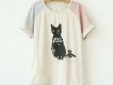 厂家直销日系女装棉麻两侧镂空刺绣条纹波点猫咪t恤  女 079