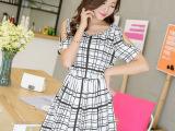 2014夏季新款女装连衣裙 钉珠露肩收腰修身韩国短袖雪纺裙