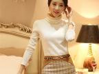 2014秋季新款女装高领加绒加厚打底衫 韩版修身长袖t恤女潮