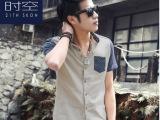 21thskon夏装品牌男装韩版男式短袖衬衫潮流拼接撞色潮男士衬