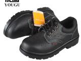 优固品牌牛皮打开透气安全鞋防砸防刺耐油酸碱劳保鞋工作鞋