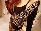 新韩国进口 豹纹性感魔女装套装 豹纹拼接丝绒连帽运动套装 外套