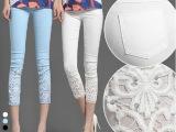 2014新蕾丝钩花镶钻薄夏白色外穿九分小脚裤打底八分七分裤 女裤