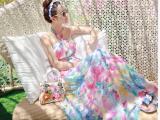 波西米亚连衣裙挂脖露肩抹胸女神印花拖地长裙