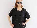 热销外贸原单2014韩版新款个性燕尾宽松大码圆点短袖t恤女 夏装女