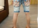 2014童装夏款 潮儿童裤子中大童中裤 男童甜甜圈牛仔裤休闲中裤