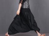 2015夏款女纯亚麻个性异形裤裙半身裙落档设计日本LB31X60
