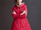 冬季欧美时尚百搭连帽毛领中长款女式修身A字型羽绒服女保暖外套