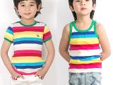 2014夏款童装 儿童条纹短袖T恤女男童纯棉彩虹背心 淘宝分销加