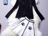 2014韩国明星孙艺珍同款性感镂空上衣+钉珠荷叶边裙 两件套J6