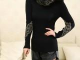 2013秋装新款女装韩版弹力修身蕾丝长袖圆领针织衫打底衫女毛衣