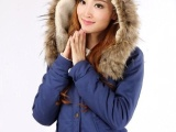 女士短款军装风小棉衣 大毛领羊羔毛棉衣外