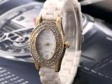 潮流女表 简约白色镶钻小款仿陶瓷女士时装表 时尚石英表现货批发