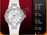 批发时尚手表 2014新款银色圆盘镶水钻女款手表 欧美爆款礼品表
