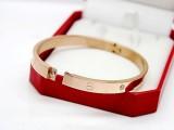 厂家批发 钛钢饰品 卡口玫瑰金手环 男女款手镯 三色可选