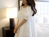 韩国代购夏季新款毛边黑白撞色拼色格子娃娃泡泡袖连衣裙