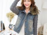 2014秋女装新款韩版修身大码毛领毛线袖牛仔短外套一件代发